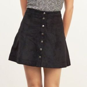 A&F Charcoal Button Down Faux Suede A-line Skirt 8